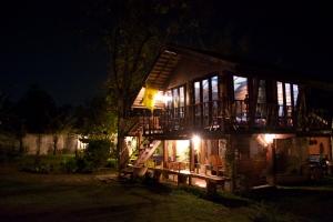 The rice barn at night